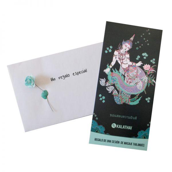 tarjeta con sobre regalo con masaje