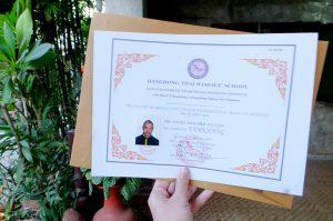 Diploma de masaje tailandés